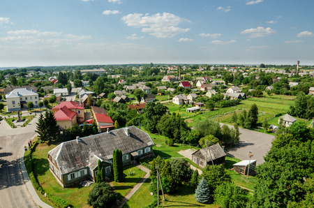 lithuanian: Aerial view of Veliuona, Lithuania Stock Photo