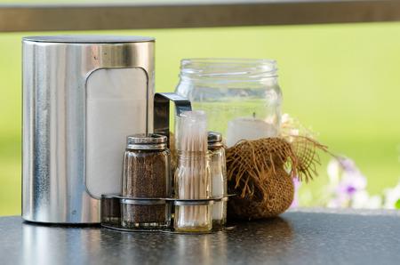 pepperbox: Tools on restaurant table