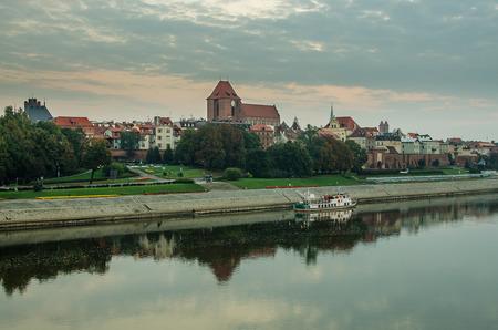 Early morning in Old Town of Torun, Poland. Vistula river Stock Photo