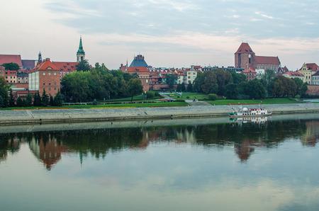 torun: Early morning in Old Town of Torun, Poland. Vistula river Stock Photo