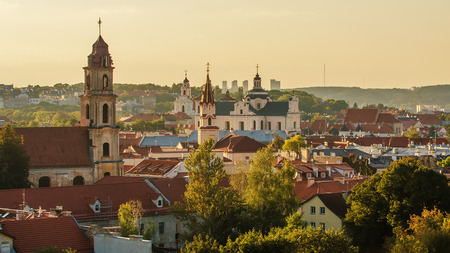 Old Town of Vilnius in Lithuania, Aerial view Stock Photo