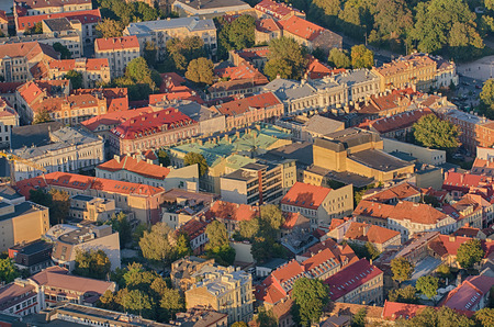 Old Town of Vilnius, Lithuania. Aerial view from piloted flying object.
