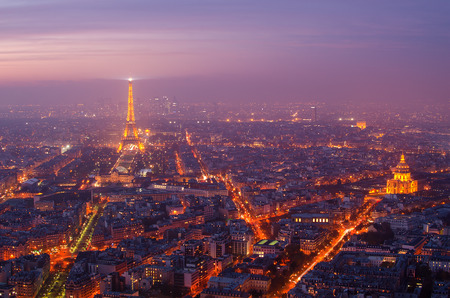 Aerial view of Paris (France) in the sunset