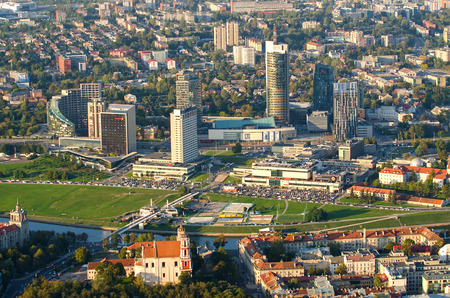 flying object: New Center of Vilnius, Lithuania. Aerial view from piloted flying object.