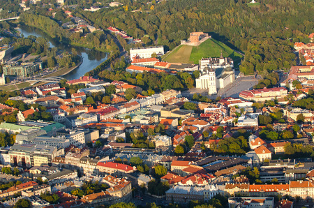 flying object: Old Town of Vilnius, Lithuania. Aerial view from piloted flying object.