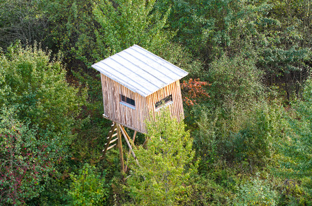 Aerial view of Hunting tower next to Vilnius, Lithuania