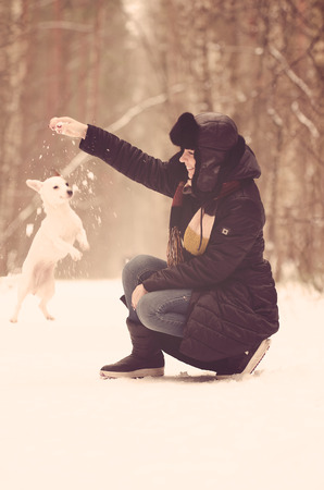 Young woman playing with Jack Russell terrier in winter time photo