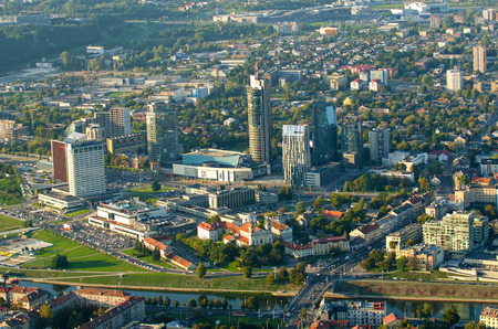 flying object: Skyscrapers  of Vilnius, Lithuania. Aerial view from piloted flying object.