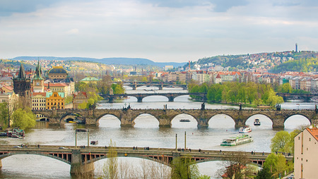 Bridges of Prague Czech Republic Stock Photo