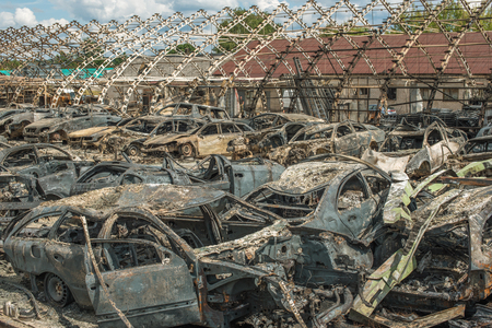 burned: Burned cars after huge fire