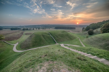 Kernave, historical capital city of Lithuania, in the sunset