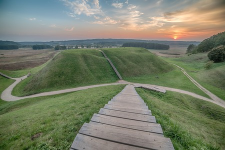 city night: Kernave, historical capital city of Lithuania, in the sunset