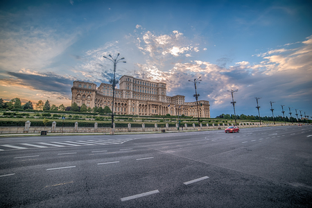 center city: The Palace of the Parliament, Peoples House - Casa Poporului, in Bucharest, Romania