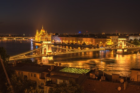 buda: Aerial night view of Budapest, capital city of Hungary, from Buda site of city