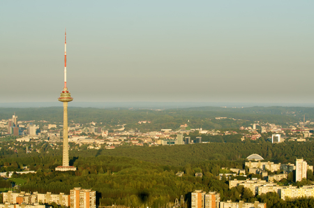 Vilnius, Lithuania: TV tower in the sunset