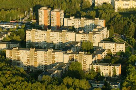 prefabricated buildings: Aerial view of soviet era prefab houses in Lazdynai, Vilnius, Lithuania