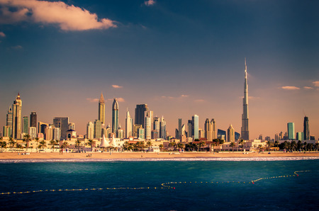 United Arab Emirates, UAE: Downtown of Dubai in the sunset