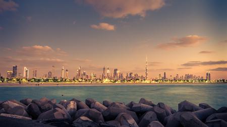 Downtown of Dubai, United Arab Emirates, in the beautiful sunset Banco de Imagens