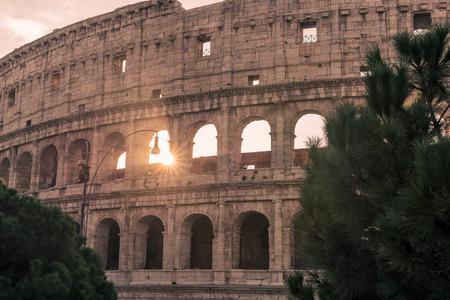 winter sunrise: Rome, Italy: Colosseum, Flavian Amphitheatre, in the beautiful sunrise of Italian winter