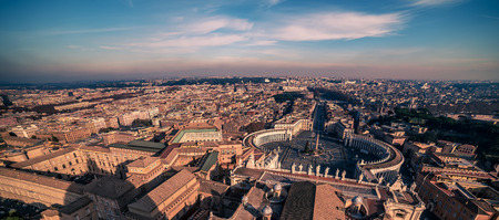 Aerial view of Vatican City and Rome, Italy. St. Peters Square Stock Photo