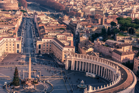 st  peter's square: Aerial view of Vatican City and Rome, Italy: St. Peters Square in Christmas Stock Photo