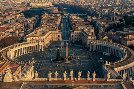 st  peter's square: Aerial view of Vatican City and Rome, Italy. St. Peters Square. Stock Photo