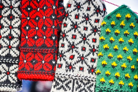 mart: Traditional woollen mitts in the famous handicraft mart Kaziukas in Vilnius, Lithuania