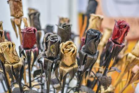 factitious: Made-up flowers in the handicraft mart Kaziukas, Vilnius, Lithuania