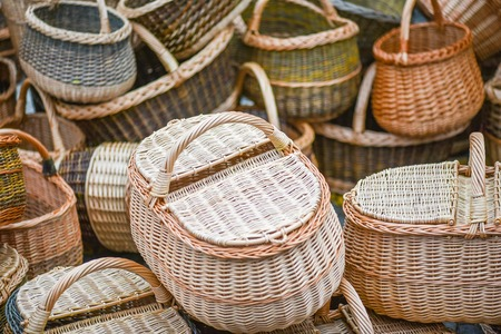 mart: Traditional wreathed baskets in the famous handicraft mart Kaziukas, Vilnius, Lithuania Stock Photo