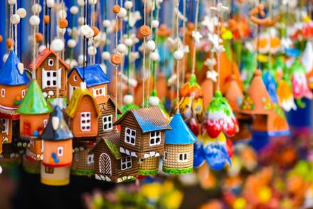 mart: Ceramic hanging bells in the famous handicraft mart Kaziukas, Vilnius, Lithuania