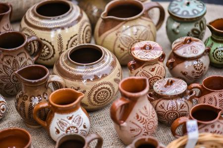 earthenware, crockery  in the famous handicraft mart Kaziukas, Vilnius, Lithuania Stock Photo