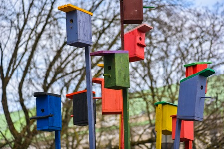 mart: Painted nesting-boxes in the handicraft mart Kaziukas, Vilnius, Lithuania. Beautiful natural symbol of real estate and human life.