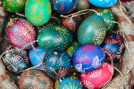 mart: Traditional painted eastern eggs in the famous handicraft mart Kaziukas, Vilnius, Lithuania