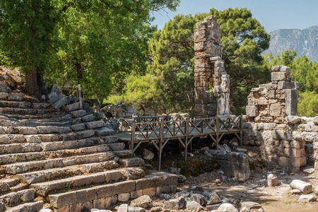 teatro antiguo: Ancient theatre in Antique city of Phaselis, Antalya Destrict, Turkey in the spring