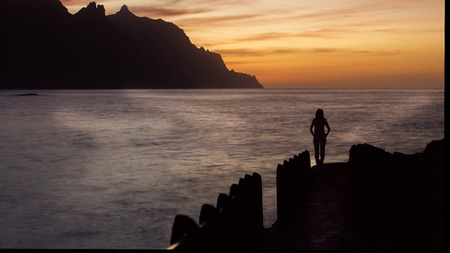 eruptive: Beautiful sunset in the beach of Tenerife, Canary Islands, Spain Stock Photo