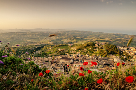 Panoramic view of Mountain town Caltabellotta, Sicily, Italy in the sunrise