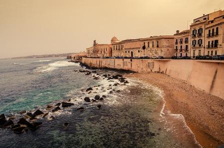 ortigia: Sicily, Italy: Mediterranean coast of Syracuse in the sunset