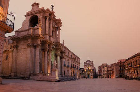 syracuse: Syracuse, Sicily, Italy: the cathedral square in the sunrise