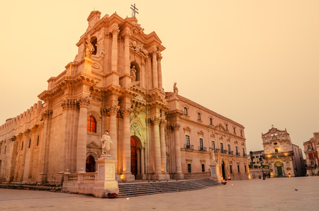 Syracuse, Sicily, Italy: the cathedral square in the sunrise