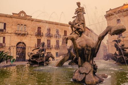 syracuse: Syracuse, Sicily, Italy: beautiful Archimede Square in the sunrise