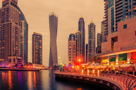 tallest: Dubai, United Arab Emirates: Marina in the beautiful colorful sunset
