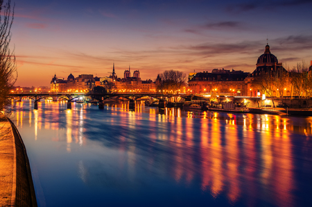 frence: Paris, Frence: Seine river and Old Town of in the beautiful sunrise