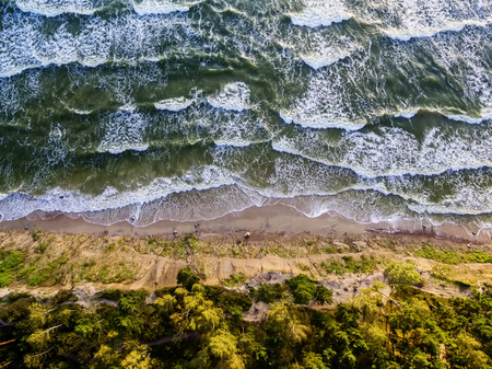 Aerial view of the Baltic Sea coast of Lithuania, Olandu Kepure, Karkle next to Klaipeda