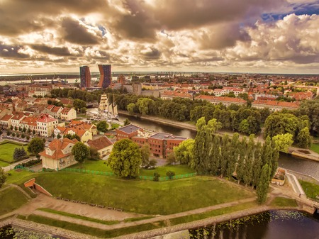 Klaipeda, Lithuania: representative aerial view of Old Town in the summer Stock Photo