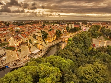Klaipeda, Lithuania: representative aerial night view of Old Town in the summer