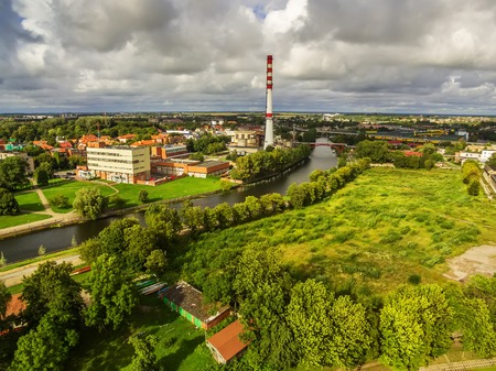 Klaipeda, Lithuania: aerial view of industrial part of the city in the summer Stock Photo