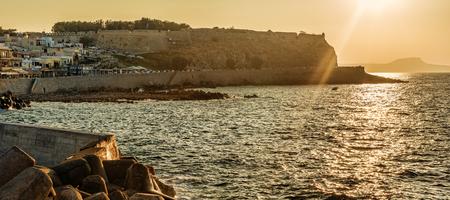 Rethymno, Crete, Greece: the Fortezza in the beautiul sunset Stock Photo