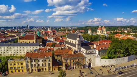 polish lithuanian: AERIAL. Old Town in Vilnius, Lithuania: the Gate of Dawn, Lithuanian: Ausros Vartai, Polish: Ostra Brama. Beautiful representative photography Stock Photo