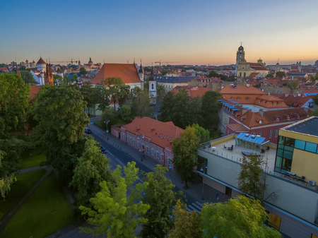 AERIAL. Old Town in Vilnius, Lithuania in the summer Stock Photo