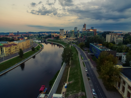 Aerial top night view of Old Town in Vilnius, Lithuania in the sunrise Stock Photo